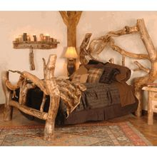 """Our """"Crazy Horse"""" Aspen Log Bed - handcrafted in Utah."""