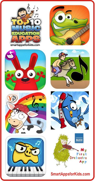 Great Music Education Apps for Elementary School Kids **UPDATED** NOW 17! http://www.smartappsforkids.com/2013/03/top-10-music-education-apps.html