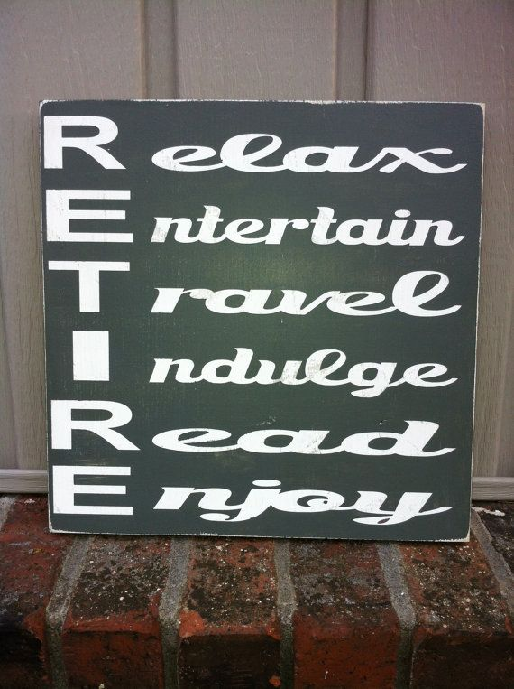 Retirement sign retirement gift subwayart wood by SimpleChicLiving, $25.00