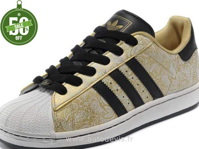 Femmes Adidas Superstar II Chaussures Or Noir Gribouillage Noir
