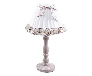 Lampada da tavolo in legno e tessuto bianco - x50x27 cm