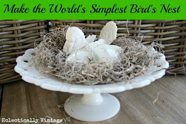 """DIY Easiest Bird's #Nest! (and unique vintage doorknob """"eggs"""")!"""