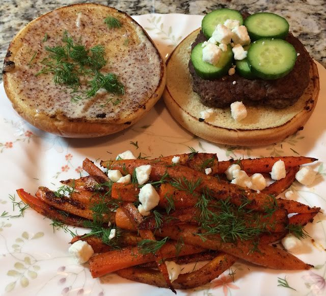 Mediterranean Burgers with Harissa Aioli and Carrot Fries