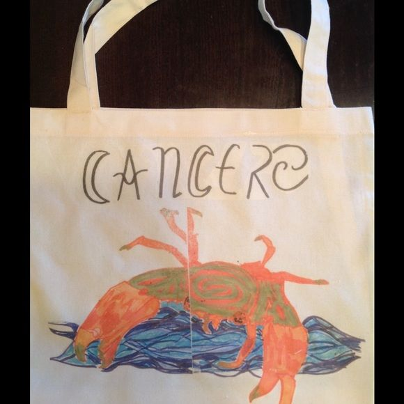 """CANCER ZODIAC tOTE ! Hand designed tote !😉☺️🌊🔮 Hey, what's your sign? American apparel tote , 17.5x18"""" cotton poly. American Apparel Bags Totes"""