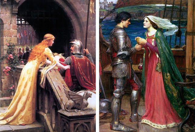 La buena suerte de Edmund Blair-Leighton (1852-1922) y Tristan e Isolda con la poción de John W. Waterhouse (1849-1917)   De libros, padres e hijos: febrero 2017