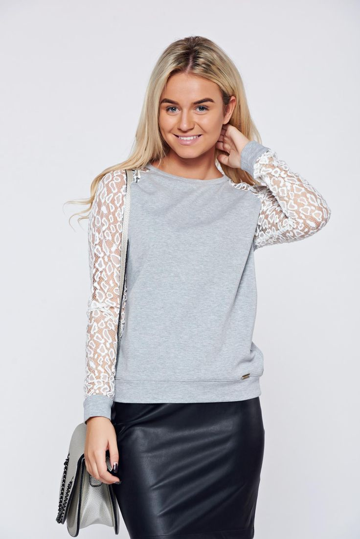 Cotton silver casual women`s blouse laced sleeves, laced sleeves