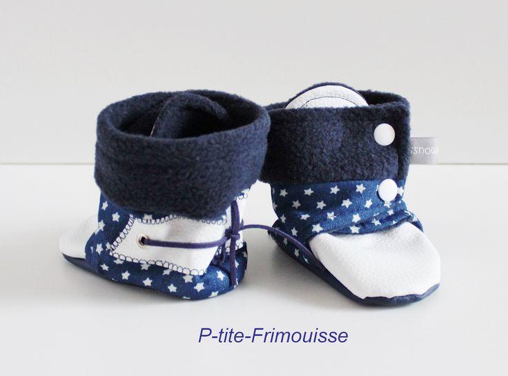 Chaussons bottines bébé, bi-matière tissu/simili cuir doublés polaire bleu marine. Imperméables ! : Mode Bébé par p-tite-frimousse