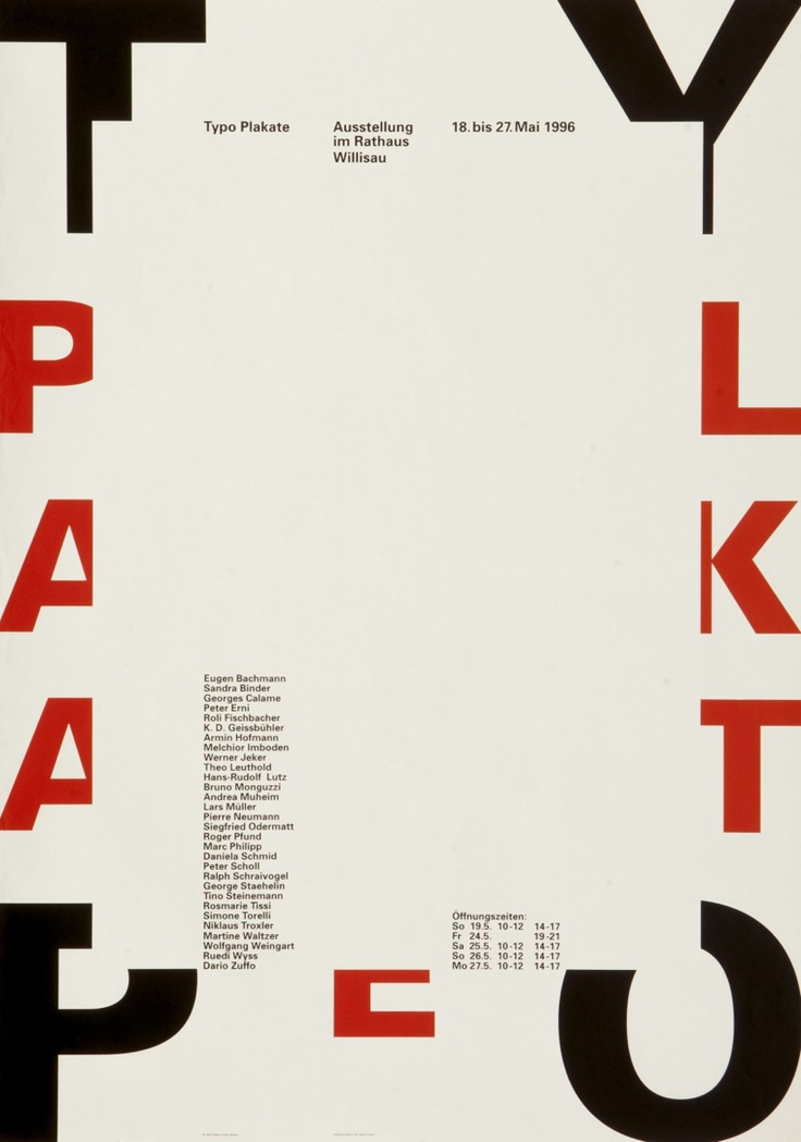 Typo Plakate. Designer: Niklaus Troxler, Willisau. Carnegie Mellon Swiss Poster Collection. 1996. Technique: Typographic Images