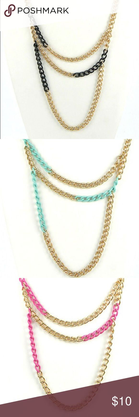 Women's Gold Chain Necklace Very cute, thick, gold chain necklace with colorful accents. 19 inches and comes in black, mint, or pink. Has matching color ball earrings. Never worn, this is leftover from a big sale. Accessories