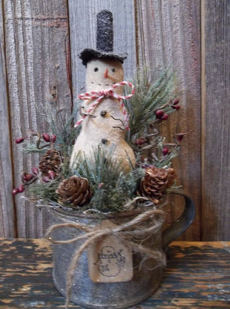Primitive Winter/Holiday Decoration - Snowman in Old Vintage Tin Cup #PrimitiveWinterHolidayDecoration