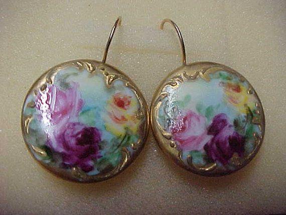 Antique Victorian Enamel Earrings 7/8 Diameter by gemsoutofafrica