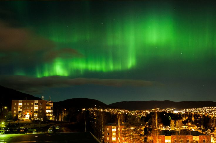 Nothern Lights over Kongsberg city, Norway - Northern Lights over Kongsberg city, this is very unuseual that is so strong in the southern parts of Norway.