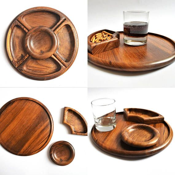 Danish Snack Tray Wood Snack and Dip platter Scandinavian