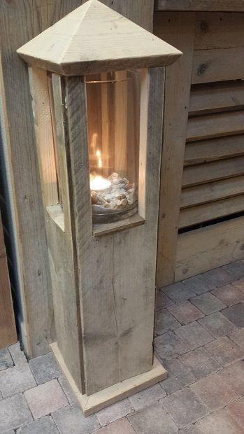 Stoere lantaarn van steigerhout, prachtig workshop product @ GoedGevonden