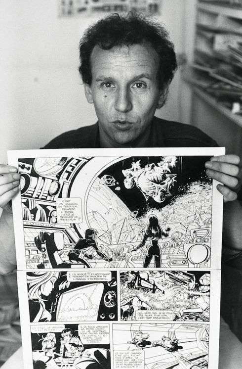 Jean-Claude Mézières with a page of Valérian and Laureline, the popular, long-running science fiction comics series, created with Pierre Christin, for which he is best known and which has proved to be influential to many science fiction and fantasy films, including Star Wars.
