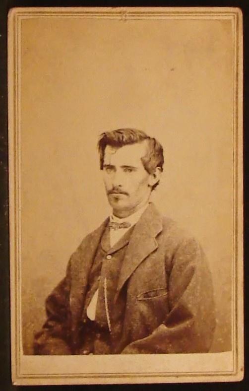 CDV Photo Man Mustache Soul Patch by Danley Macomb Illinois Civil War Era