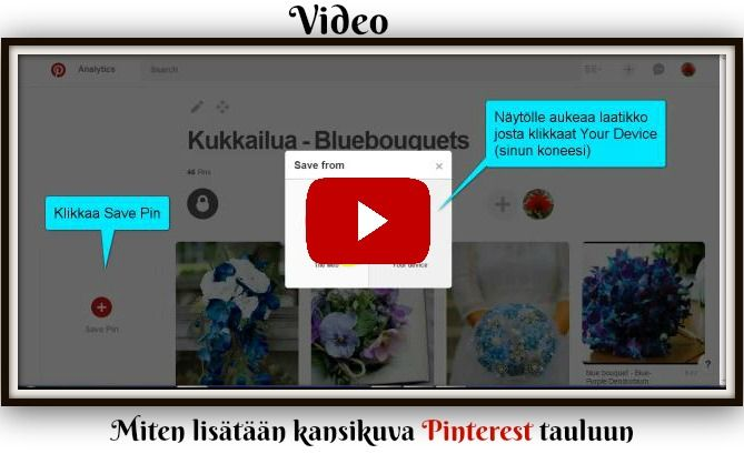 Video - Miten lisäät kansikuvan #pinterest tauluun http://kukkailua.fi/pinterest-kansikuvien-lisaaminen/ #video
