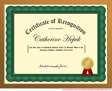 Make a certificate that's worthy of framing. (Note that the outer frame has been added in Photoshop to simulate a real wood frame. It is not part of this tutorial.)