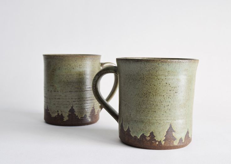 Pottery Coffee Mugs - Tree Line Coffee Mugs - Handmade Ceramic Coffee Mug by EverydayStoneware on Etsy https://www.etsy.com/listing/281185624/pottery-coffee-mugs-tree-line-coffee