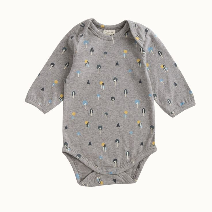 Organic Stretch Jersey Cotton Bodysuit in Or-Chard Print