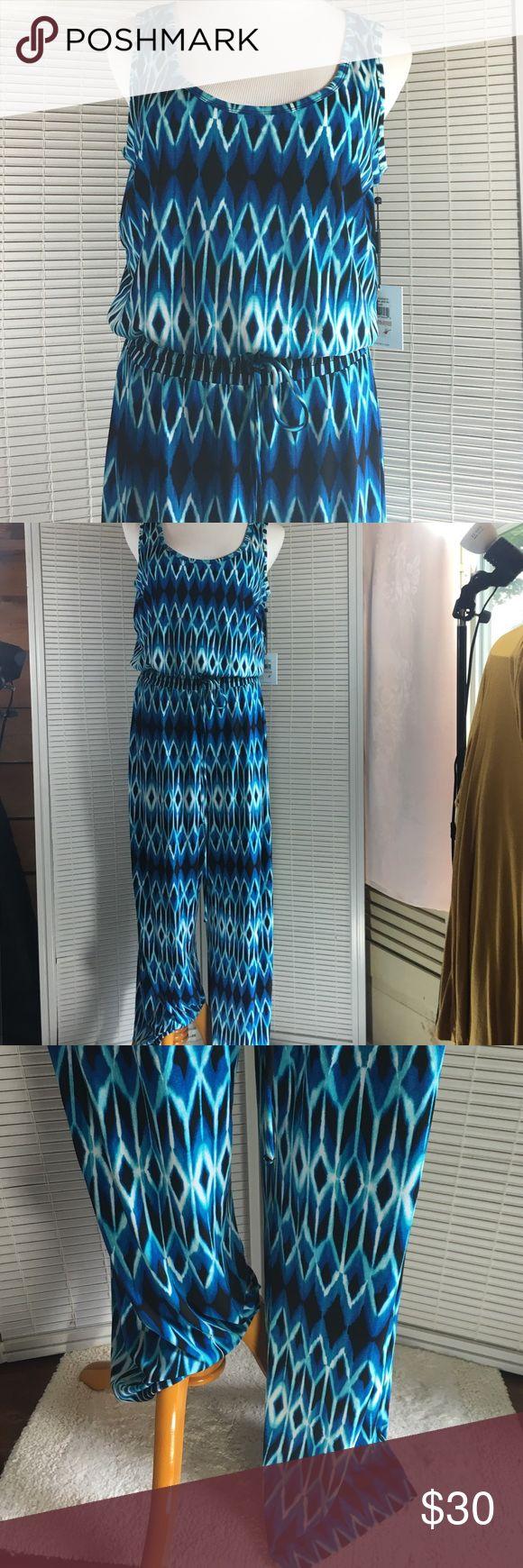 Calvin Klein jumpsuit Multicolor Calvin Klein Jumpsuit . Scoop neck , pull on , sleeveless . Waist across 15, inseam 32, rise 13, bust across 19 1/2. 95% polyester, 5% spandex . Matte Jersey . Calvin Klein Other