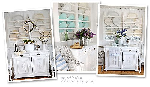 Scandinavian country furniture: white dresser and plate rack, decorated with the seasons.