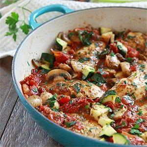 Chicken, Italian Recipes, Main Dishes - Italian Chicken Skillet Dinner - Foodprim
