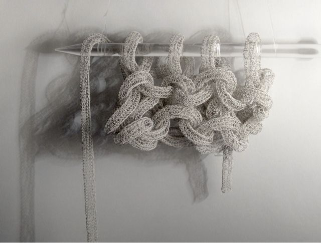 Experimental Knitting - delicate grey knit sample with intricate structure; 3D textiles design // Anita Bruce