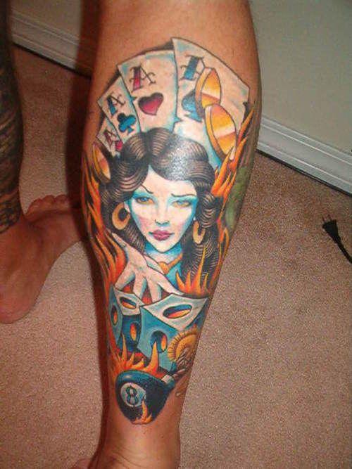Casino meisje met dobbelstenen en kaarten en Eightball tatoeage op been- #OnlineCasino
