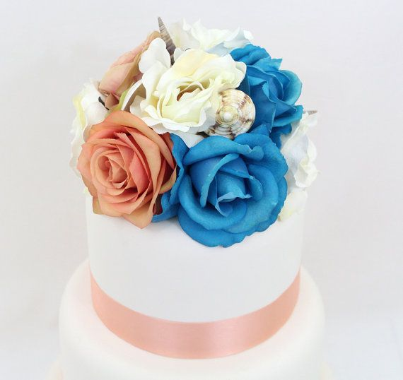 The 186 best it tops the cake silk floral wedding cake toppers and wedding cake topper coral ivory blue rose sea by ittopsthecake this is a silk flower cake junglespirit Image collections