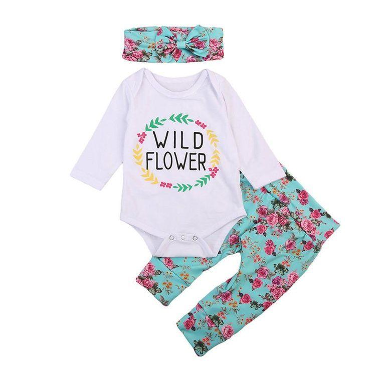 pcs Newborn Infant Baby Girl Outfits Clothes Romper Bodysuit Pants Leggings Set