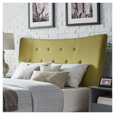 Ritchie Curved Button Tufted Headboard - Queen - Chartreuse - Inspire Q, Lime Haze