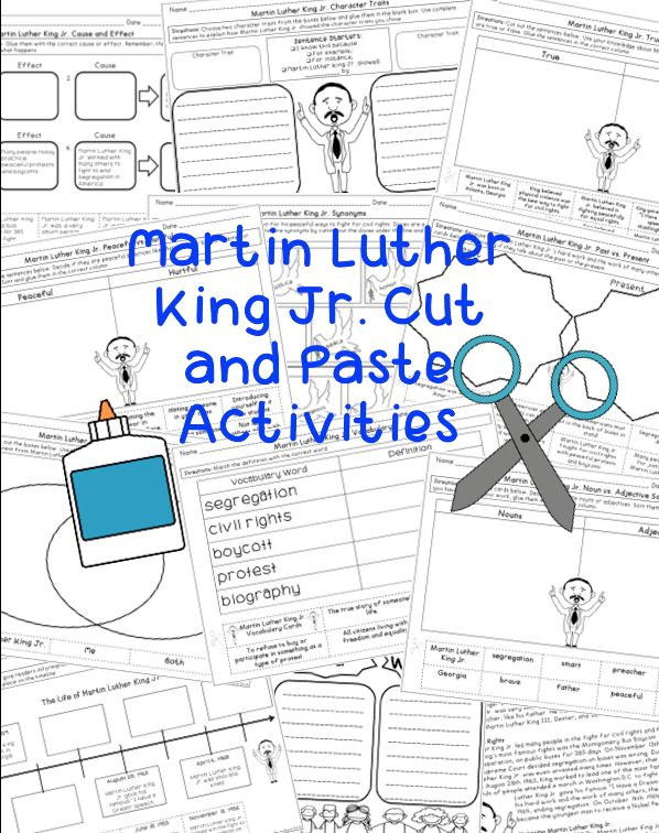 Martin Luther King Jr. Activity Set - Incorporate MLK into literacy activities with this cut and paste set. Includes cause and effect, timeline, compare and contrast, character traits, etc.