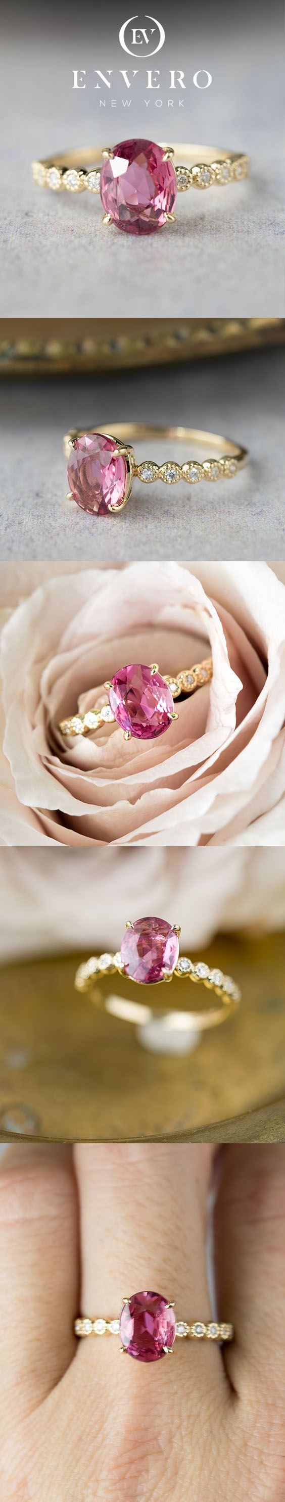 14 gold pink tourmaline diamond engagment ring will make an unique engagement ring for women who wants something bit different from ordinary diamond engagement ring. #UniqueEngagementRings