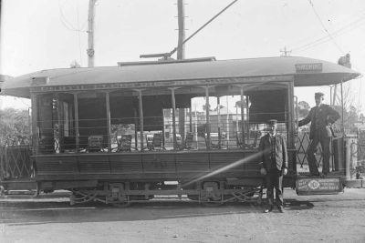 Perth Electric Tramways Ltd tram no.40, the first tram built in Western Australia, c. 1905.