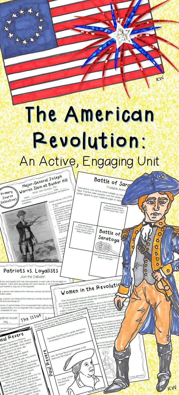 Are you looking for an engaging unit to use while teaching your students about the American Revolution? You've found it! This unit contains lesson sheets, lesson activities, primary source analysis sheets, secondary source analysis sheets, a Revolutionary individuals and groups section, a scoot game, and a unit test.
