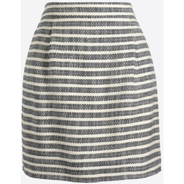 J.Crew Striped mini skirt (2,355 PHP) ❤ liked on Polyvore featuring skirts, mini skirts, short skirts, striped skirt, j. crew skirts, white mini skirt and stripe skirt