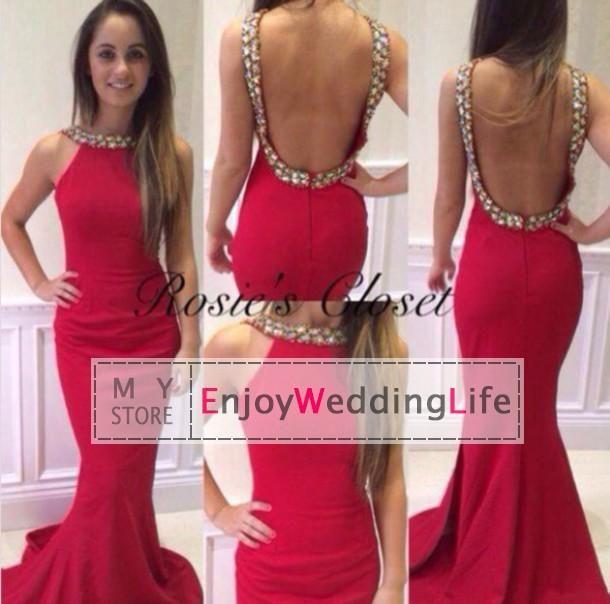 2015 New Elegant Red Sleeveless Satin Mermaid Prom Dresses Rhinestones Crystals Backless Floor Length Evening Dresses, $119.38 | DHgate.com