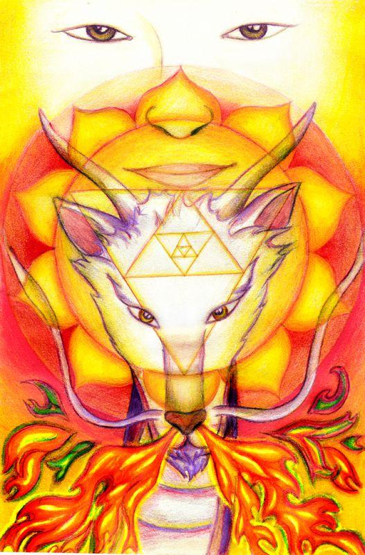 Fire (from the serie: Elements) #fire #mandala #3rdchakra #dragon #asianeyes #illustration #tamairis