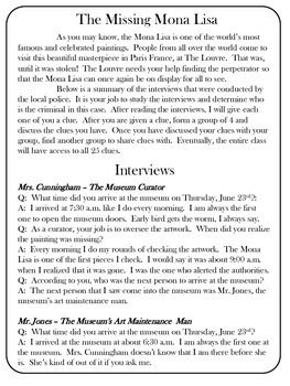 The Missing Mona Lisa - A Mystery Game - Critical Thinking ...