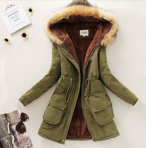 Womens Fur Hooded Slim Parka Thicken Winter Warm Fashion Coat Jacket Outerwear in Clothing, Shoes & Accessories, Women's Clothing, Coats & Jackets | eBay
