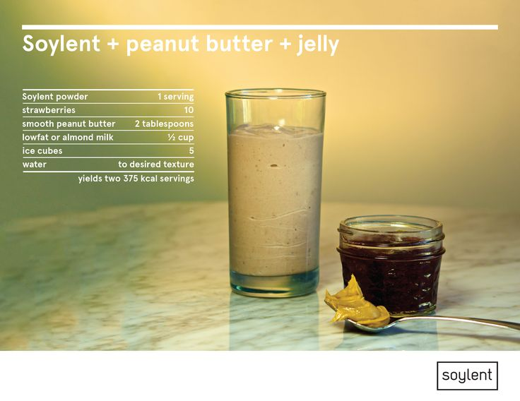 Directions: Add strawberries, milk, Soylent and ice to blender. Add the peanut butter on top and blend until smooth. Add more ice to reach desired consistency.