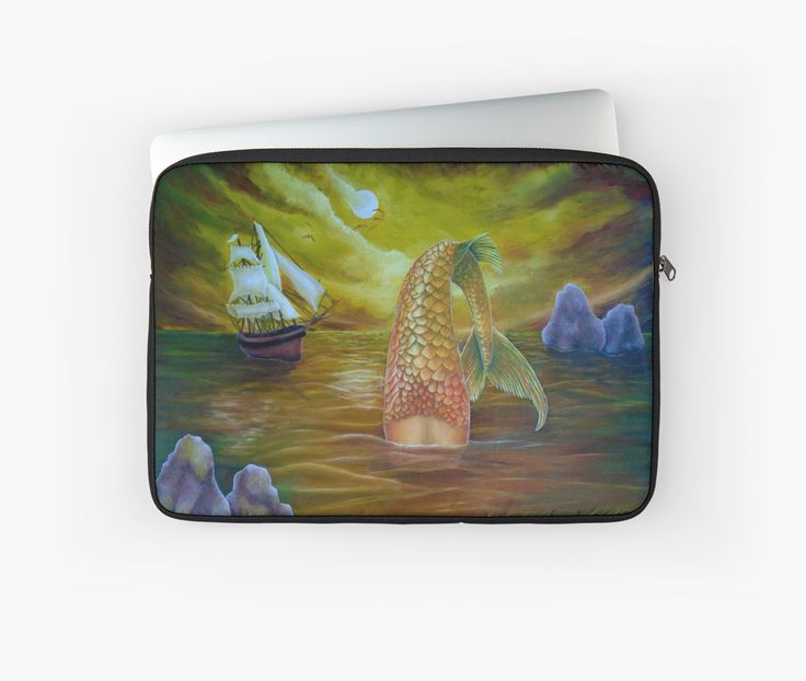 Laptop Sleeve,  mermaid,fantasy,yellow,gold,unique,cool,beautiful,trendy,artistic,unusual,accessories,design,items,products,for sale,redbubble