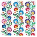 Seamless traditional folk polish pattern - seamless embroidery stripes, wzory lowickie