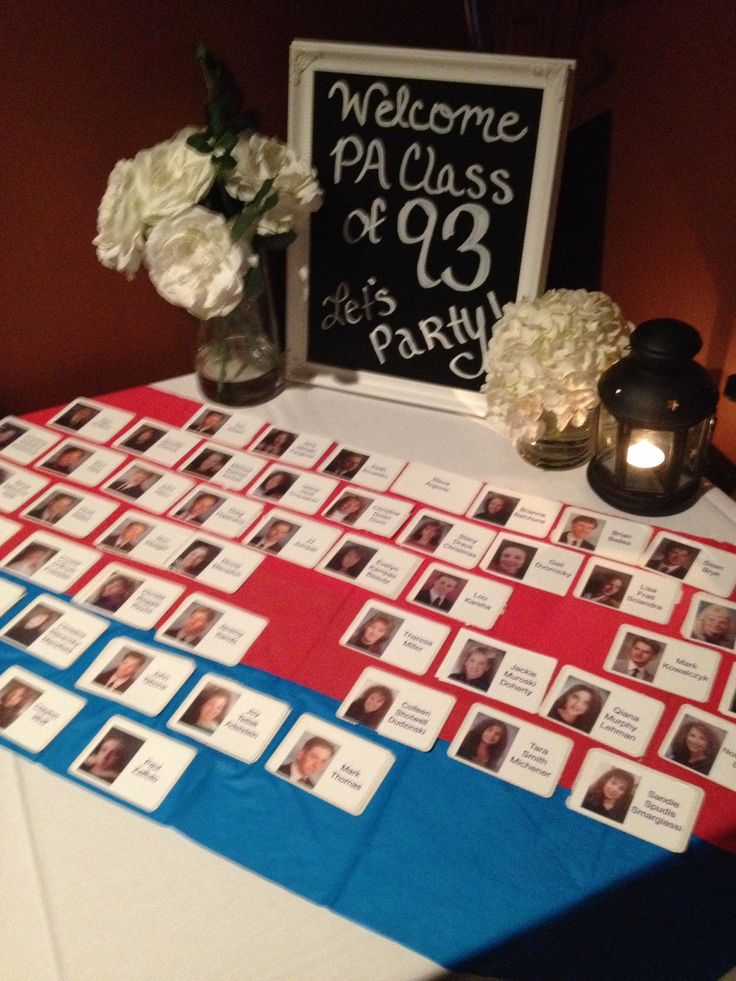 Class reunion welcome table! Name tags and chalk board welcome sign written with chalk marker