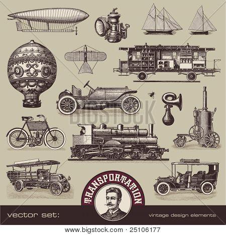 conjunto de vectores: antiguos medios de transporte - variedad de ilustraciones antiguas