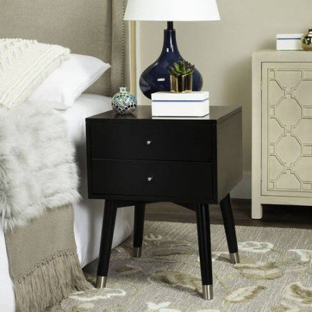 Safavieh Lyla Mid Centry Retro 2-Drawer Nightstand, Multiple Colors, Black