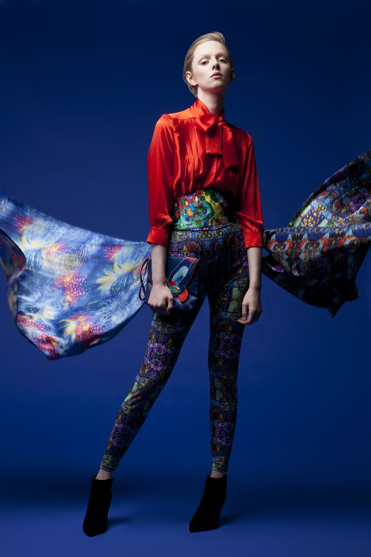 Harry Clarke stained glass inspiration Design  Pintuck Orange blouse made 100% silk and  Printed Leggings made of Jersey