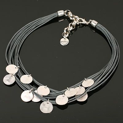 Grey Multi Strand Necklace with Silver Discs. www.shazbamdecor.com