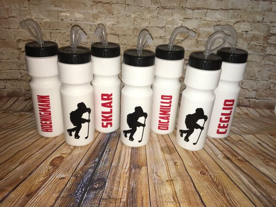 Sale Personalized Hockey Player Water Bottle With Long Face Hockey Birthday Parties Hockey Water Bottle Hockey Team Gifts